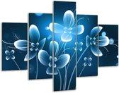 Glasschilderij Bloem | Blauw, Wit | 100x70cm 5Luik | Foto print op Glas |  F004901