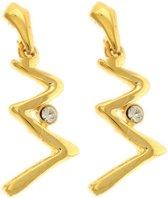 Behave® Dames oorbellen hangers goud-kleur 4 cm