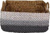 HSM Collection - Mand Waterhyacint - wit/lichtgrijs/grijs - rotan - s/2