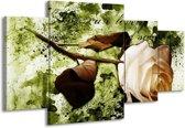 Canvas schilderij Roos | Groen, Bruin, Wit | 160x90cm 4Luik
