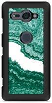 Xperia XZ2 Compact Hardcase Hoesje Turquoise Marble Art