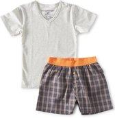 zomer pyjama t-shirt jongens - blue orange check