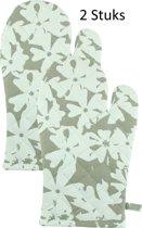 Stevige & Dikke Katoenen Ovenwant, Flowers - Taupe / Wit 18 x 30 cm - 2 stuks