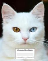 Composition Book 100 Sheets/200 Pages/8.5 X 11 In. College Ruled/ Blue and Brown Eye Cat