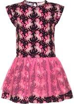Mim-pi Meisjes Jurk - Zwart met roze - Maat 134