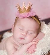 Haarband kroon goud,roze,parelrand