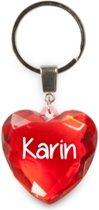 sleutelhanger - Karin - diamant hartvormig rood