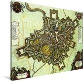 Kleurrijke historische stadskaart van Breda Canvas - Plattegrond 40x30 cm - klein - Foto print op Canvas schilderij (Wanddecoratie woonkamer / slaapkamer)