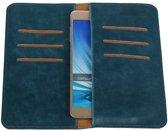 Blauw Pull-up Large Pu portemonnee wallet voor Samsung