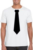 Wit t-shirt met zwarte stropdas heren M
