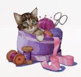 Thea Gouverneur Borduurpakket 736A Sewing basket kitten Poes - Aida stof 100% katoen