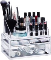 relaxdays Make up organizer met 2 lades - acryl make up toren - doorzichtig - 16 vakken doorzichtig