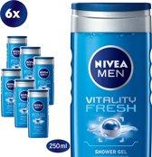 NIVEA MEN Vitality Fresh Douchegel - 6 x 250 ml - Voordeelverpakking