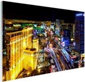 FotoCadeau.nl - Skyline Las Vegas in de nacht Glas 60x40 cm - Foto print op Glas (Plexiglas wanddecoratie)