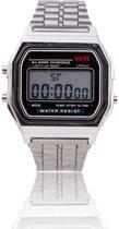 Digitaal Retro - Horloge - Staal - Zilverkleurig - 22 mm