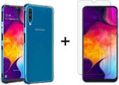 Samsung Galaxy A50 Siliconen Hoesje - Tempered Glass Screenprotector - Extra Stevige Randen - Shock Proof Case - Transparant