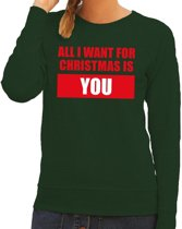 Foute kersttrui / sweater All I Want For Christmas Is You groen voor dames - Kersttruien M (38)