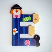 Sevi - Houten Clown letter E - blauw