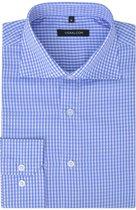 vidaXL Zakelijk overhemd heren wit en lichtblauw geblokt maat XL