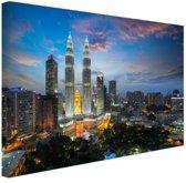 Kuala Lumpur skyline zonsondergang Canvas 80x60 cm - Foto print op Canvas schilderij (Wanddecoratie)