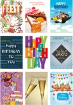9 Wenskaarten Mgpcards met envelop - Verjaardag - Dubbele kaart - 14 gram - 17 x 11,5 cm