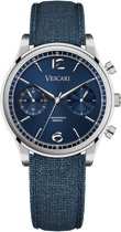 Vescari - Chestor - VSC02SBL04 - Heren - Polshorloge - Zilver - Canvas - Blauw - Ø 40 mm