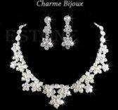 Charme Bijoux®Trouw ketting - zirconia- met clip oorbellen-52 cm- 4 cm-