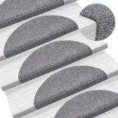 Trapmat trappenmat set trapmatten trapbekleding mat voor trap licht grijs set 15 54x16x4cm