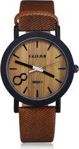 Feifan - Houtlook Horloge - Kunststof - Brown/Bruin - 38 mm