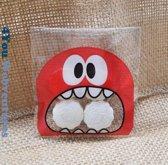 50x Transparante Uitdeelzakjes Monster Design Rood 10 x 10 cm met plakstrip - Cellofaan Plastic Traktatie Kado Zakjes - Snoepzakjes - Koekzakjes - Koekje - Cookie Bags Monster