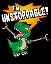 I'm Unstoppable!: Cute & Funny I Am Unstoppable T-Rex Dinosaur Pun 2020-2021 Weekly Planner & Gratitude Journal (110 Pages, 8'' x 10'') Bl