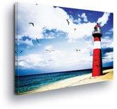 Lighthouse Sea Water Nature Canvas Print 100cm x 75cm