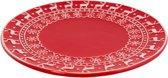 Clayre & Eef Kerstbord Ø 25 cm - wit/rood