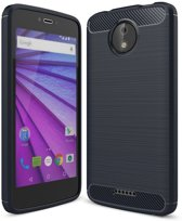Motorola Moto C Plus hoesje - Rugged TPU Case - donkerblauw