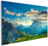 Zonsondergang in de Alpen Glas 60x40 cm - Foto print op Glas (Plexiglas wanddecoratie)