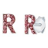 Lucardi Zilveren oorbellen Initialen R - Meisjes - Roze kristal
