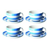 Cornishware Blue kop en schotels (set van 4)