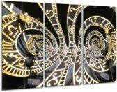 Glasschilderij Abstract   Zwart, Goud, Wit   120x80cm 3Luik   Foto print op Glas    F001667