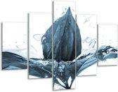 Glas schilderij Bloem | Blauw, Wit | 100x70cm 5Luik | Foto print op Glas |  F006655