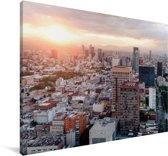 Zonsondergang boven Mexico-stad Canvas 140x90 cm - Foto print op Canvas schilderij (Wanddecoratie woonkamer / slaapkamer)
