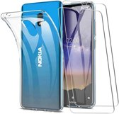 Nokia 2.2 Hoesje Transparant  TPU Siliconen Soft Case + 2X Tempered Glass Screenprotector