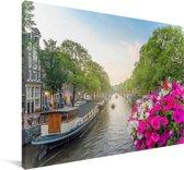 Kleurrijke foto van de Prinsengracht van Amsterdam Canvas 60x40 cm - Foto print op Canvas schilderij (Wanddecoratie woonkamer / slaapkamer)