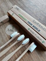 Bamboe tandenborstel / 4 stuks - KNALPRIJS - Medium - Ecologisch - Vegan - Planet B