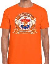 Oranje Holland drinking team t-shirt / t-shirt oranje heren -  Nederland/supporter kleding 2XL