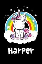 Harper: Personalized Name Notebook Blank Journal For Girls Or Women With Unicorn