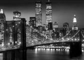 New York-Manhattan-Brooklyn bridge-Skyline poster zwart-wit Extra Large 100x140cm