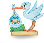 Geboorte bordje ooievaar blauw 17 x 17 cm | Bartolucci