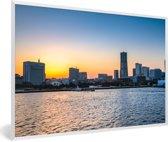 Foto in lijst - Indrukwekkende zonsondergang in Yokohama fotolijst wit 60x40 cm - Poster in lijst (Wanddecoratie woonkamer / slaapkamer)