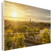 Zonsondergang over Montpellier in Frankrijk Vurenhout met planken 90x60 cm - Foto print op Hout (Wanddecoratie)