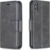 Let op type!! Retro Lambskin Texture Pure Color Horizontal Flip PU Leather Case for iPhone X / XS  with Holder & Card Slots & Wallet & Lanyard(Black)